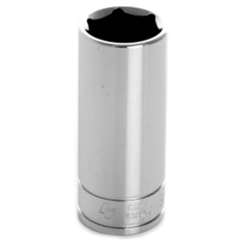 0.37 in. Drive 6 Point Deep Chrome Socket, 19 mm