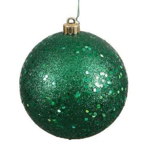 Vickerman N591024DQ 4 in. Emerald Sequin Christmas Ornament Ball - 6 per Bag