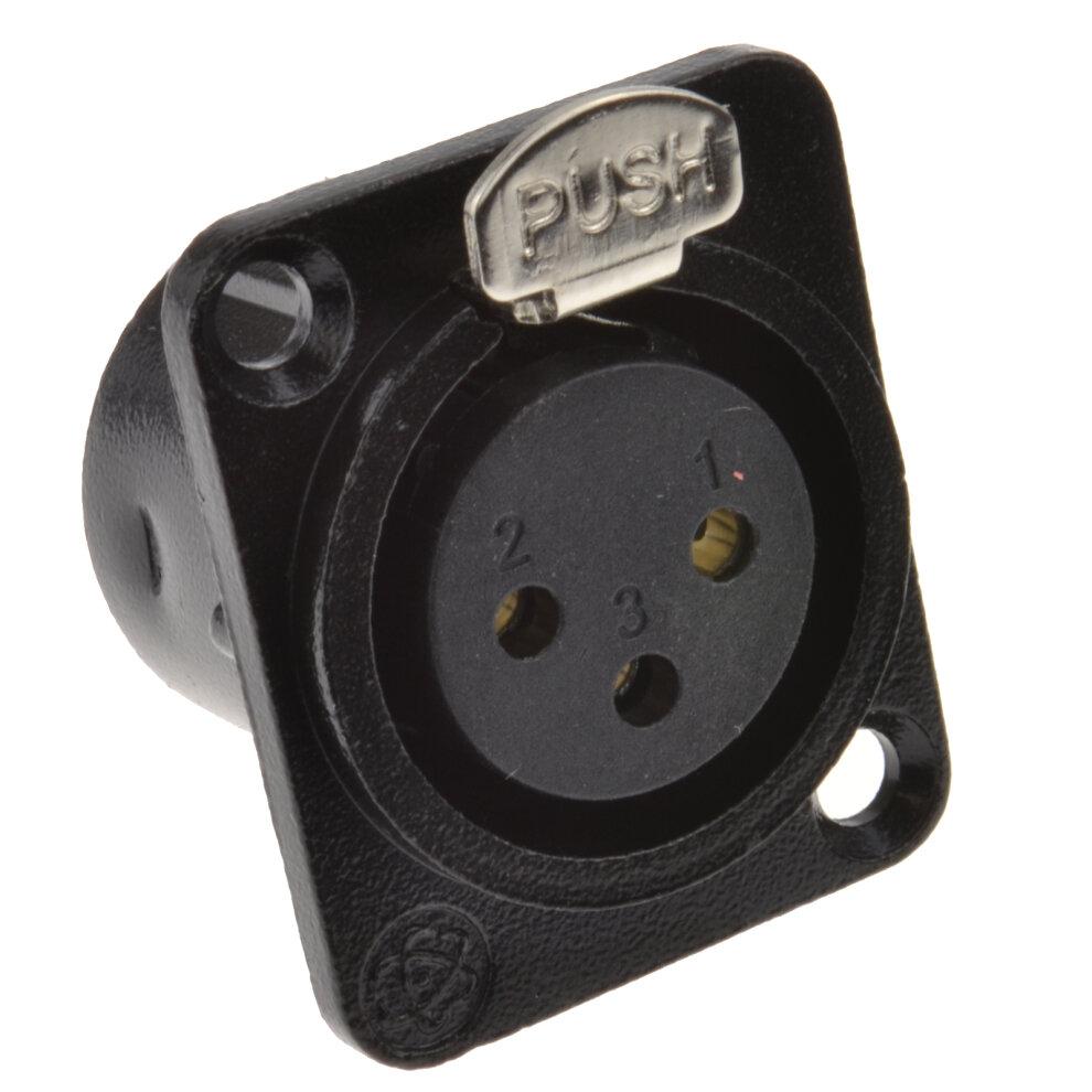kenable XLR Socket Microphone Chassis Panel Mount Solder Terminal Black Metal