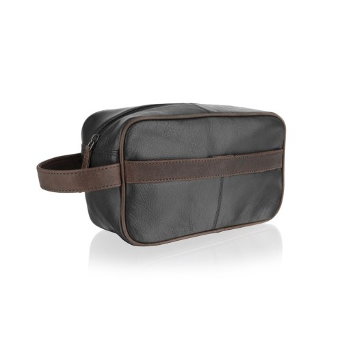 """Woodland Leather Black With Brown Contrast Leather Wash Bag 11. .0"""" Easy Access Central Zip Compartment With External Carry Handle."""