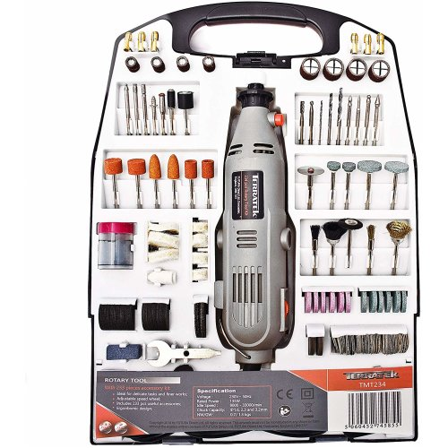 Terratek Rotary Multi Tool Kit 135W with 234pc Accessory Set & Storage Case, Variable Speed 8000-33000rpm, Woodwork & Hobby Craft, Dremel Compatible