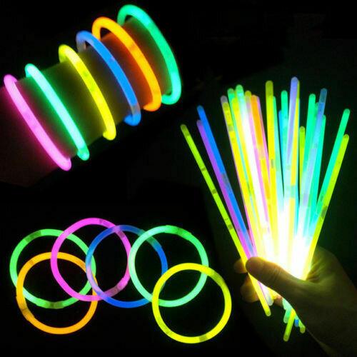 100x Glow Sticks UV Light Sticks Glow In The Dark Party Premium Bracelets