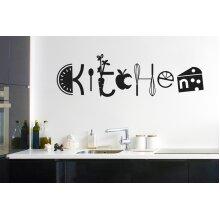 Assorted Kitchen Sign Wall Stickers Art Decals - Medium (Height 26cm x Width 90cm) Black