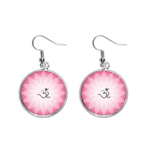 Buddhism Pink Lotus Sanskrit Pattern Ear Dangle Silver Drop Earring Jewelry Woman