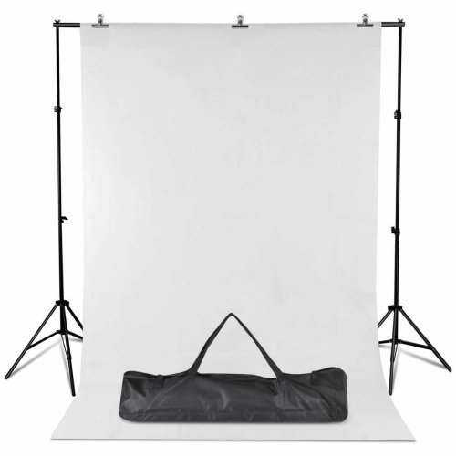 Professional Photo Studio 2x3m Meter Background Stand Support Kit Including White Backdrop