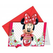invitations with envelope Minnie Mouse red/white 6 pieces