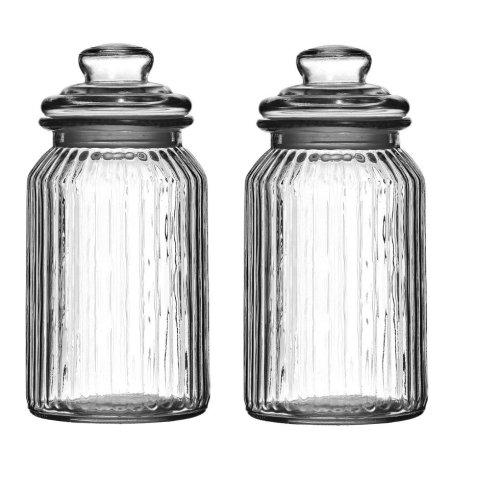 Set Of 2 Ribbed Glass Storage Jars, Clear, 1300 ml