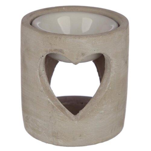 Grey Eden Concrete Industrial Style Heart Cut-Out Oil Burner OB293D