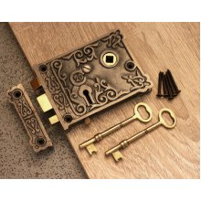 Victorian Style Antique Cast Iron & Brass Door Rim Sash Lock Floral Design