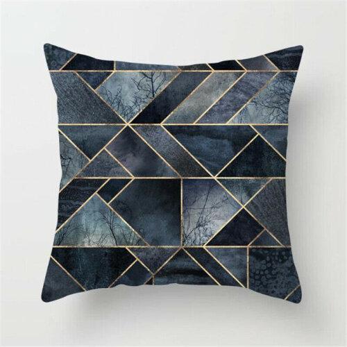 (#9 Geometric) Geometric Throw Pillow Case Cushion Covers Simple Cyan-blue Home Sofa Bed Decors