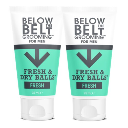 Below The Belt Grooming Fresh & Dry Balls -Intimate Deodorant For Men For Mens Balls- Protects against Sweat, Odour and Chafing - Fresh Scent 2 x 75ml