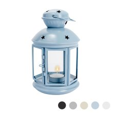 Metal Candle Lanterns Tealight Holders Vintage French Moroccan Style 20cm[Blue]