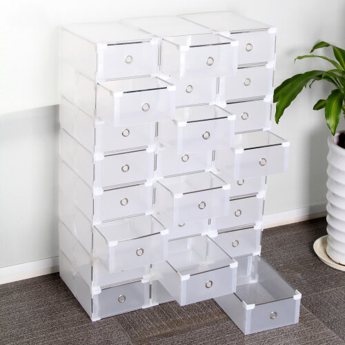 24pc Foldable Plastic Shoe Storage Boxes | Stackable Shoe Storage