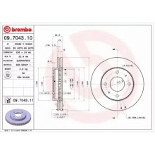 Front Pair (2x) of Brake Disc BREMBO 09.7043.11