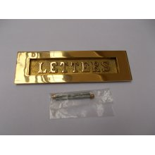 """10"""" Letters Embossed Letter Plate Polished Brass"""