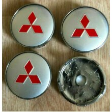 MITSUBISHI ALLOY WHEELS CENTER CAPS (4) RED SILVER Face 60mm Clip 58mm