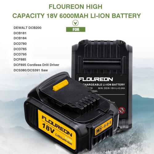 FLOUREON 18V 6000mAh Li-ion Battery for DEWALT DCB200, DCB184 DCF885