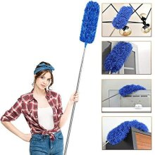 Feather Duster Extendable with Stainless Steel Extension Pole, 100 Inches Extra Long Telescopic Dusters, Cobweb Duster with Bendable Head for Cleani
