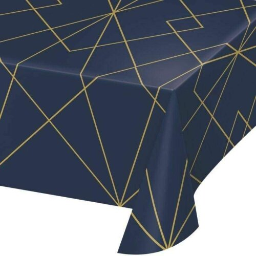 Navy and Gold Geode Plastic Tablecover All Over Print