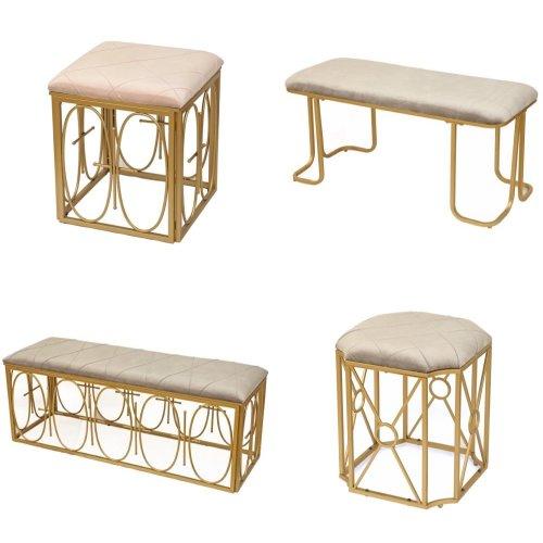 Dipamkar® Velvet Bench Footstool Metal Frame