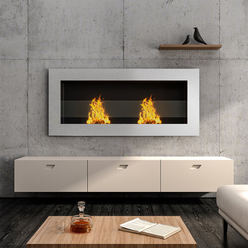 (Silver, 90*15*40CM) Indoor Wall Mounted Recessed Bio Ethanol Fireplace