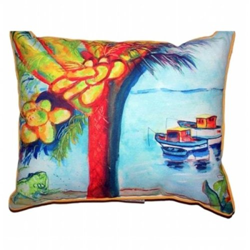 Betsy Drake HJ440 Cocoa Nuts & Boats Large Indoor & Outdoor Pillow