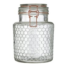 Apiary Rose Gold Wire Small Glass Jar Honeycomb Pattern