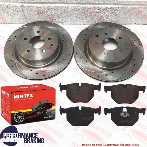 FOR BMW X5 X6 30d REAR DRILLED GROOVED BRAKE DISCS MINTEX PADS 320mm E70 E71 E72
