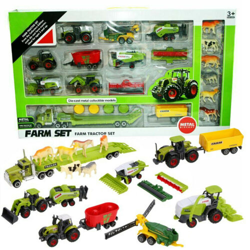 The Magic Toy Shop 22 Pcs Metal Diecast Tractor Set Farm Truck Vehicles Animals Model Kit Playset