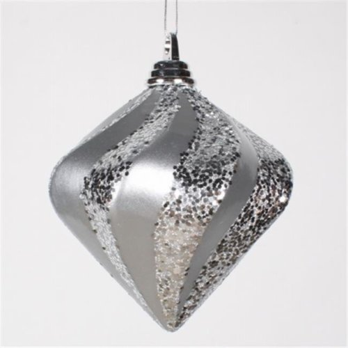 Vickerman M133207 6'' Silver Candy Glitter Swirl Diamond