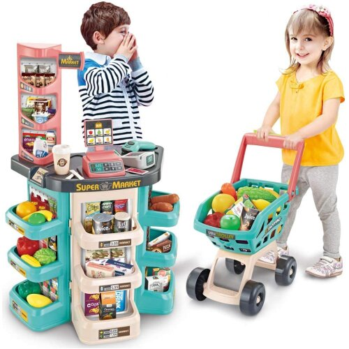 The Magic Toy Shop Kids Supermarket Shop Play Set Shopping Trolley