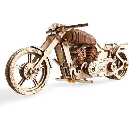 UGears 70051 Motorcycle, DIY Technical Model Construction, Project Bike, VM-02 with Rubber Band Motor Model Kit, Wood, Multi, One Size