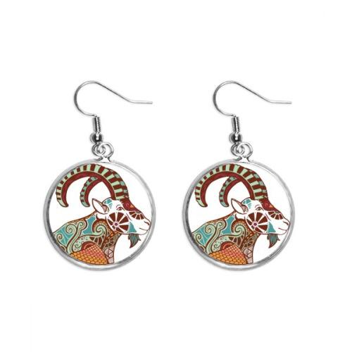 Capricorn Constellation Zodiac Symbol Ear Dangle Silver Drop Earring Jewelry Woman