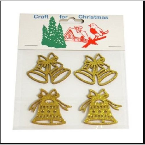 """Craft For Occasions """"Craft For Christmas"""" Embellishments - Pack of 4 Gold Bells - C1485"""