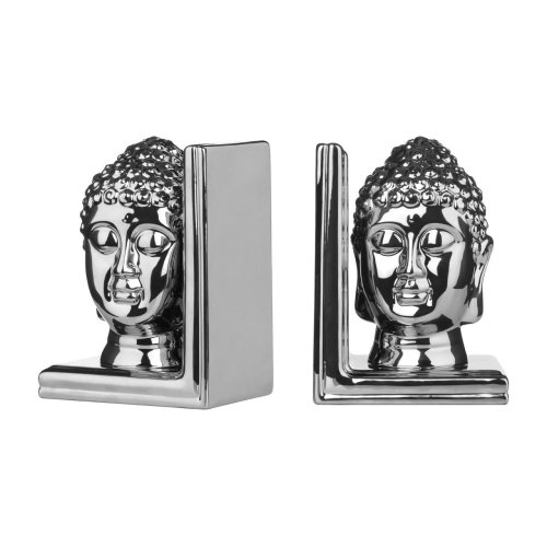 Set Of 2 Buddha Head Bookends, Silver