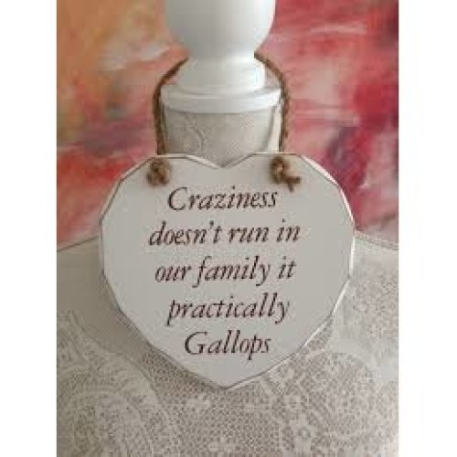 Craziness Doesn't Run in our Family it Practically Gallops Wooden Heart Plaque