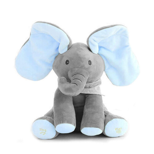 (Elephant/Blue) Baby Peek-a-boo Soft Elephant Doll Singing Toy Gift