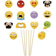 NPW NP37166 Emoticon Photo Booth Selfie Props Set, Paper, Get Emojinal