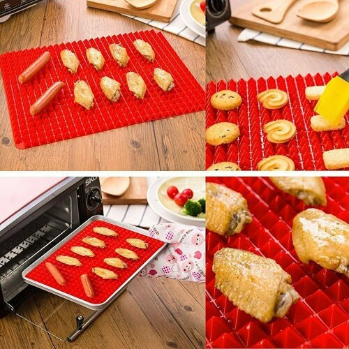 Silicone Pyramid Fat Reducing Non Stick Baking Mat Oven Liner Tray