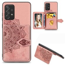 Samsung Galaxy A72 Leather Case with Card Slots -Pink