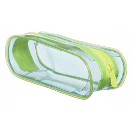 WHSmith Blue Neon Transparent Oval Pencil Case With Chunky Neon Green Zip