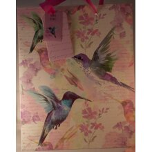 Hummingbird watercolour paper gift bag with ribbon handles 33cm x 26.5cm