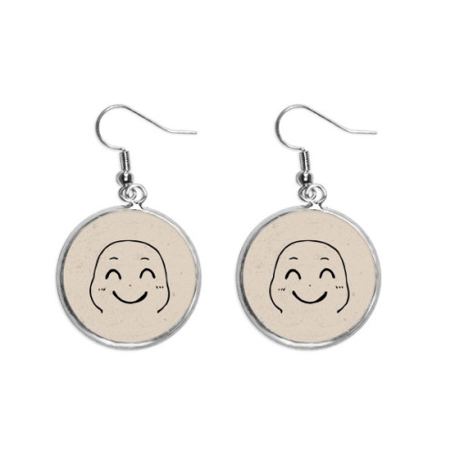 Lovely Smile Black Emoji Pattern Ear Dangle Silver Drop Earring Jewelry Woman