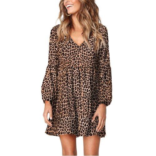 (Multicoloured, S) Womens Casual Tunic Dress Leopard Ruffle V-Neck Flowy Swing Loose Shift Tunic Dresses