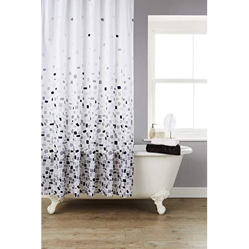 Kav Vibrant Mosaic Grey Extra Wide, Wide Shower Curtain