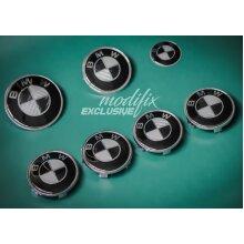 modifix_co_uk BMW CARBON Black & White Emblem Set Front Rear Badge Wheel Caps Decals 7ps Genuine Modified