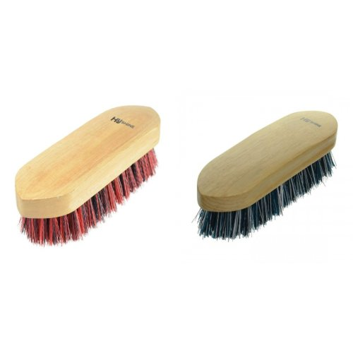 black and white mixed P HySHINE Natural Wooden Dandy Brush Large stiff teal
