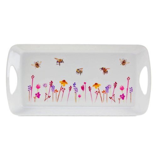 Medium 41x20 cm Busy Bees Serving Tray Platter Watercolour Floral Print Design
