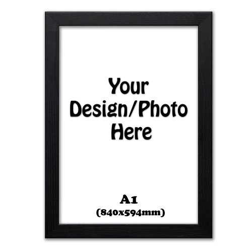 A1 Frame, Black Picture Photo Frames, Flat Wooden Effect Photo Frames