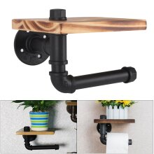 Toilet Paper Holder Industrial Style Iron Pipe Roller With Wood Shelf